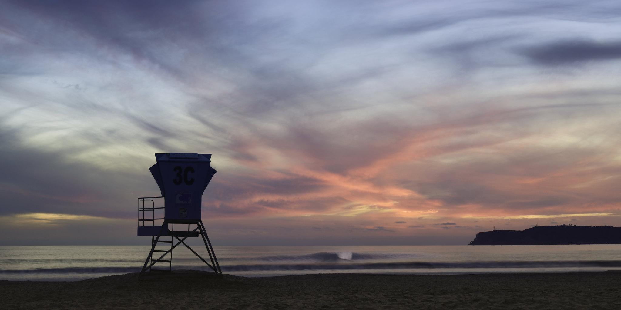 Sunset at Coronado Beach Lifeguard Tower 3C
